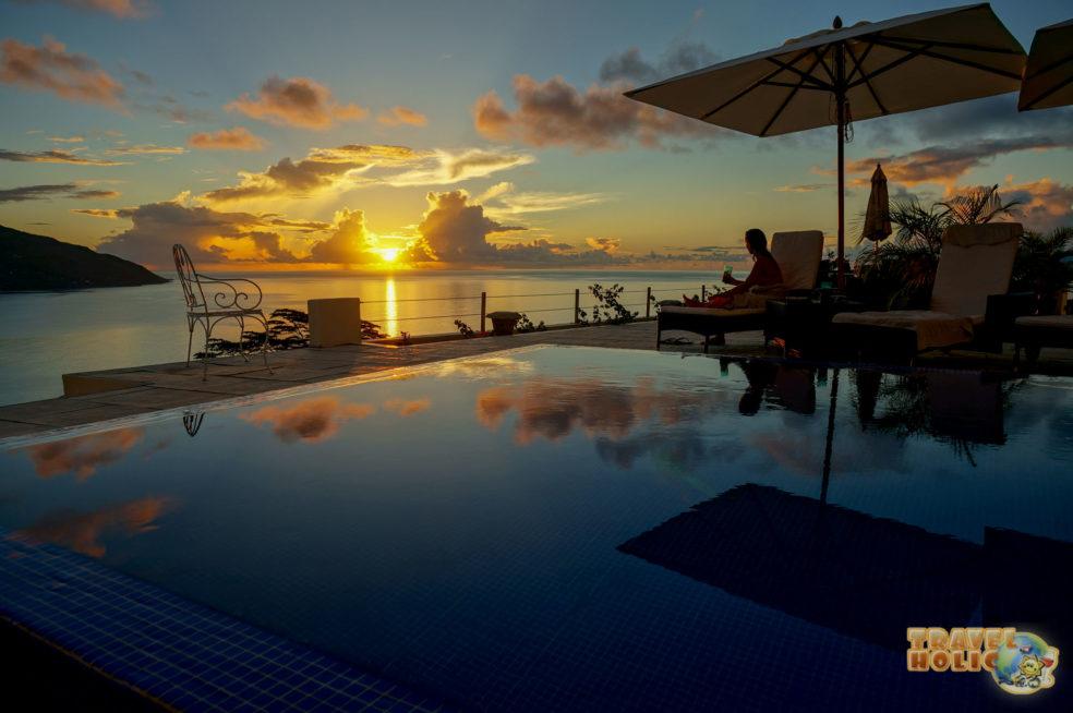 Vue depuis la terrasse de Petit Amour Villa, Beau Vallon, Seychelles