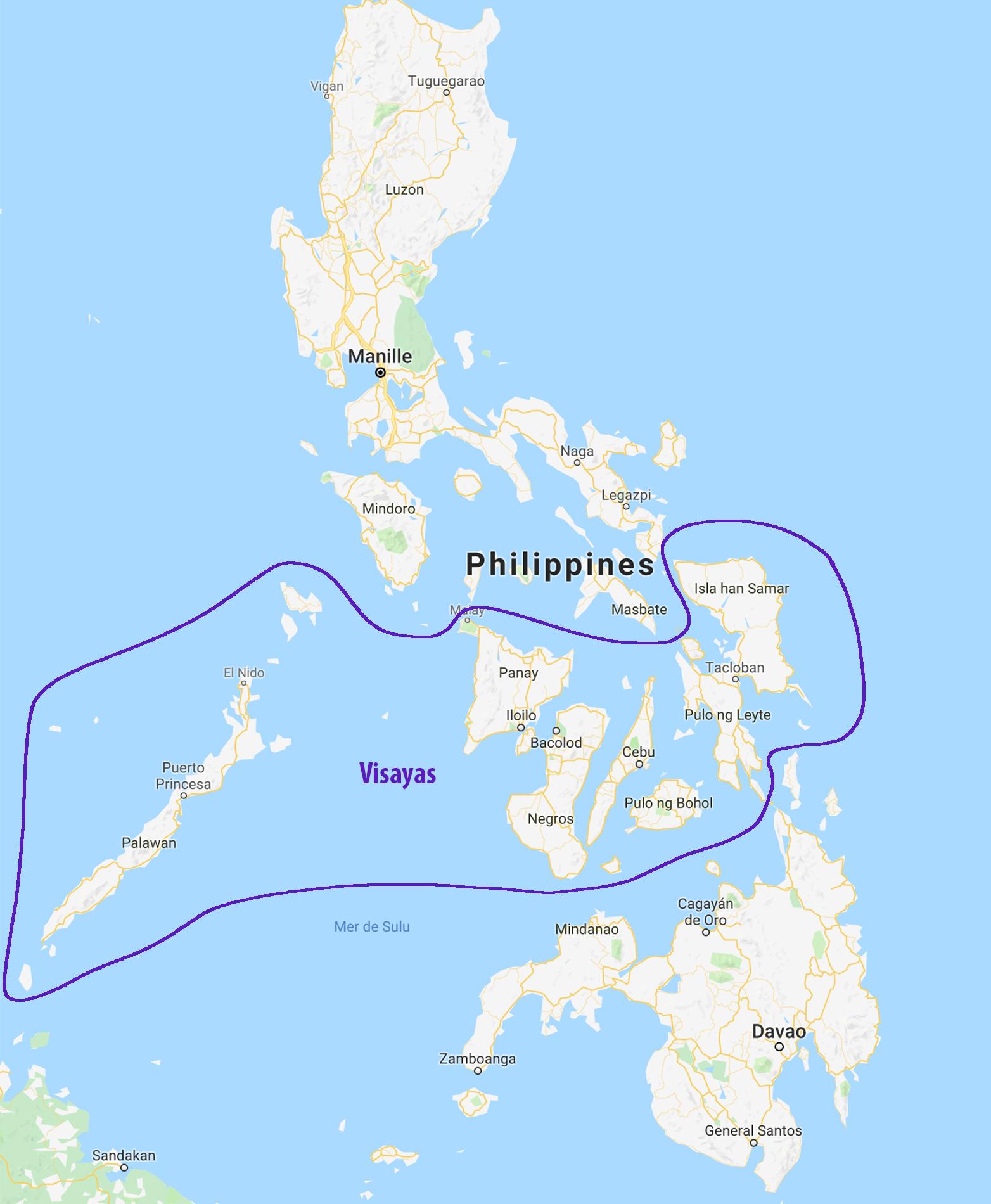 Carte des Philippines et des Visayas