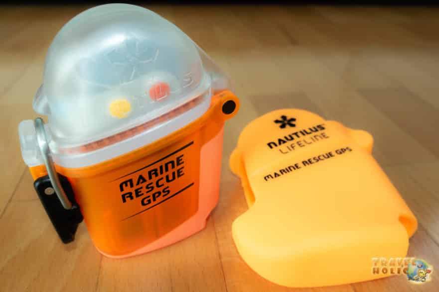 La balise GPS Nautilus LifeLine et sa pochette de protection